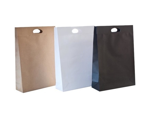 Die Cut Carry Bags (Large Gusset Brown or White) Qty 200