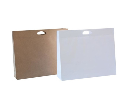 Die Cut Carry Bags (XL Gusset Brown or White) Qty 10