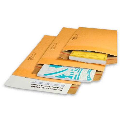 Jiffy Rigi Bag® Mailers are manufactured with an extra-rigid, kraft-laminated fiberboard construction that effectively resists bending and folding while providing superior edge and corner protection. These mailers are the perfect way to ship books, photography and other low profile items that require rigid ailing protection.