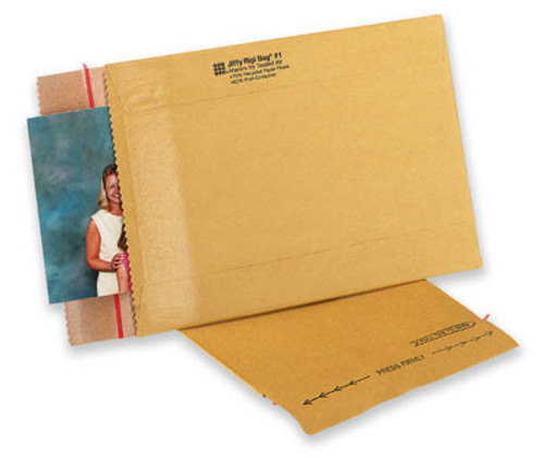 Jiffy Rigi Bag® Mailers are manufactured with an extra-rigid, kraft-laminated fiberboard construction that effectively resists bending and folding while providing superior edge and corner protection. These mailers are the perfect way to ship books, photography and other low profile items that require rigid protection.