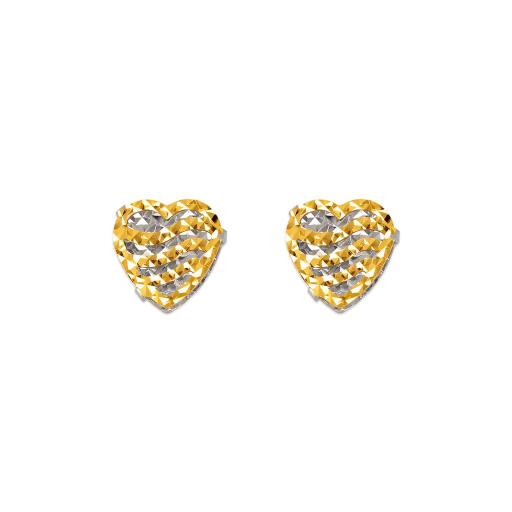 142-105Z Diamond Cut Heart Stud Earrings