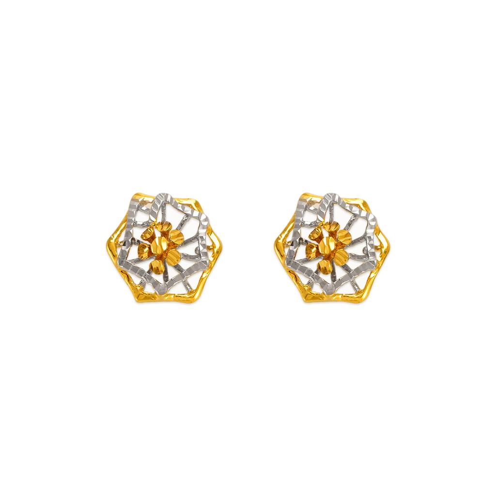142-106Z Diamond Cut Flower Stud Earrings