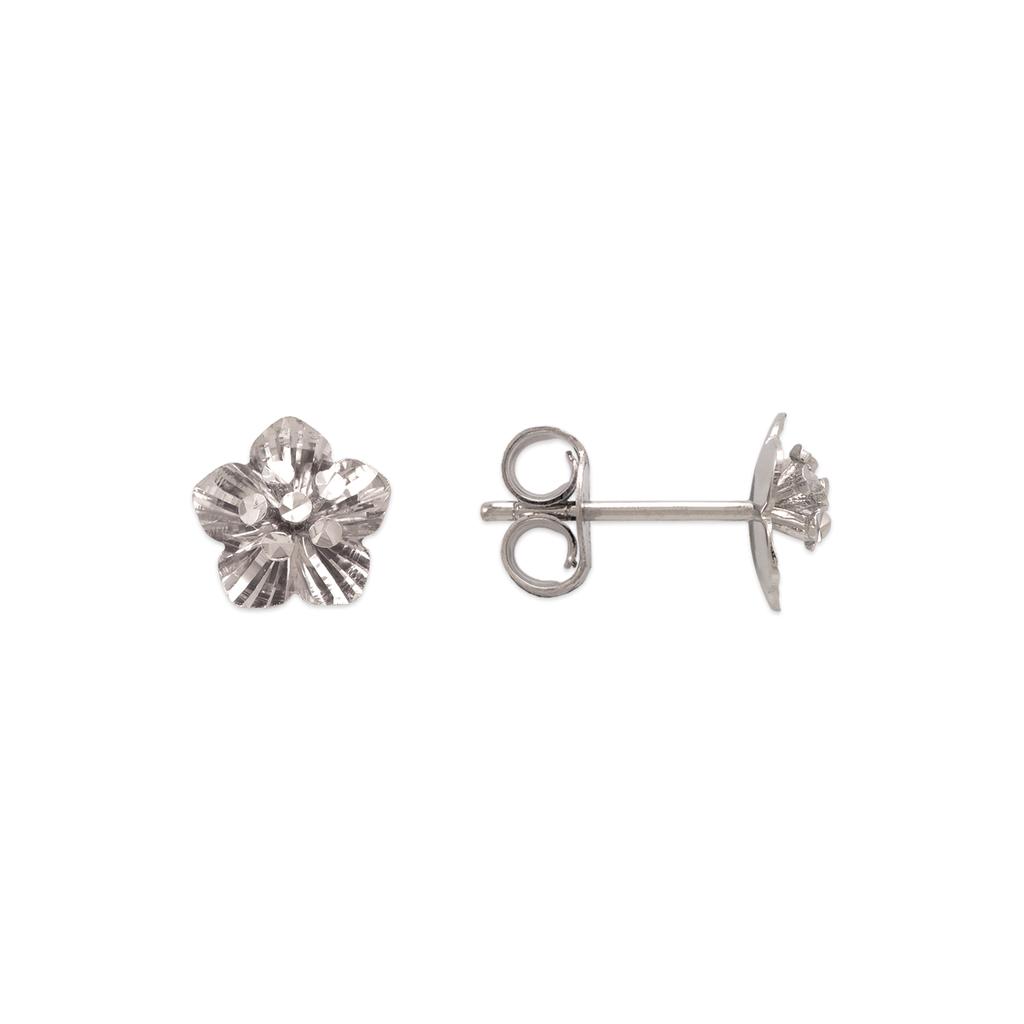 142-108W Diamond Cut Flower Stud Earrings