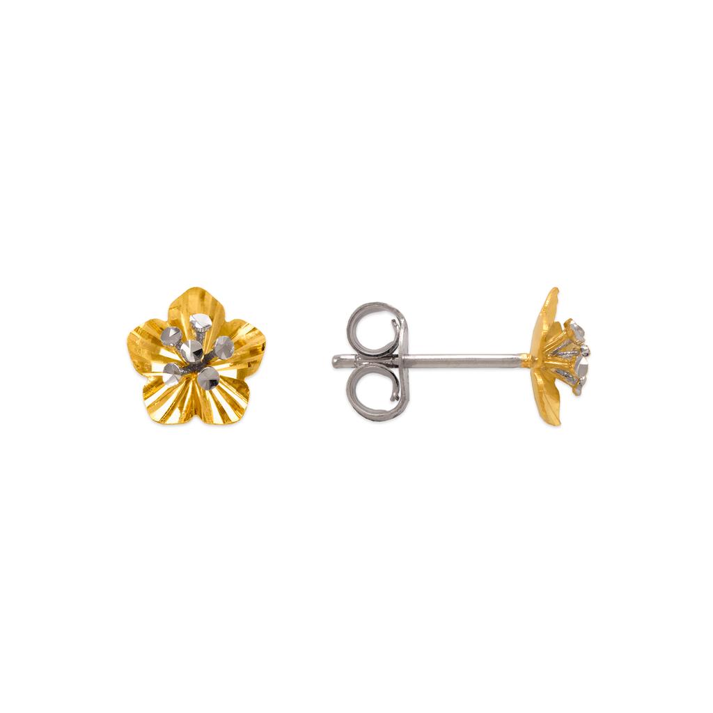 142-108Z Diamond Cut Flower Stud Earrings