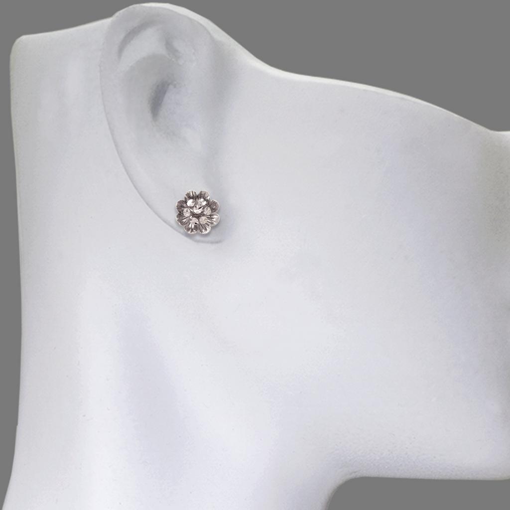 142-110W Medium Diamond Cut Flower Stud Earrings