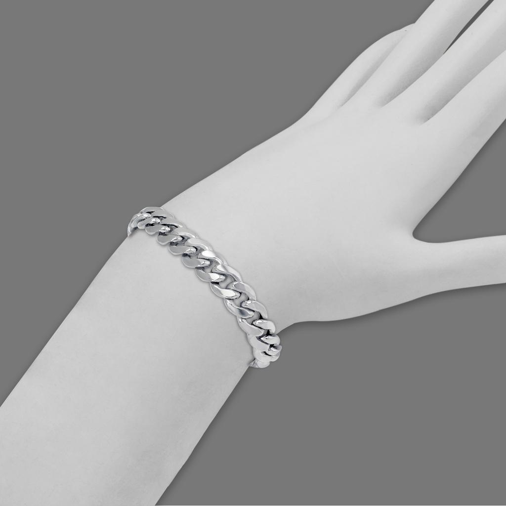 136-105W-180BR Hollow Miami Curb Bracelet