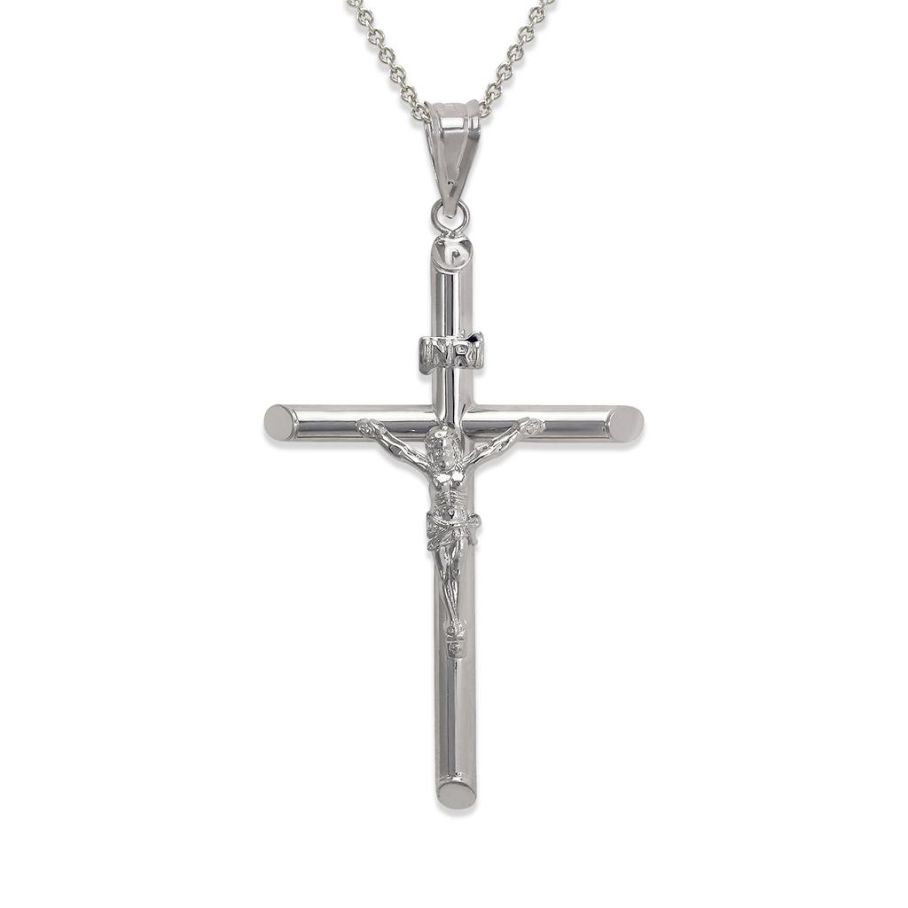 366-105W Round Tube Jesus Cross Pendant