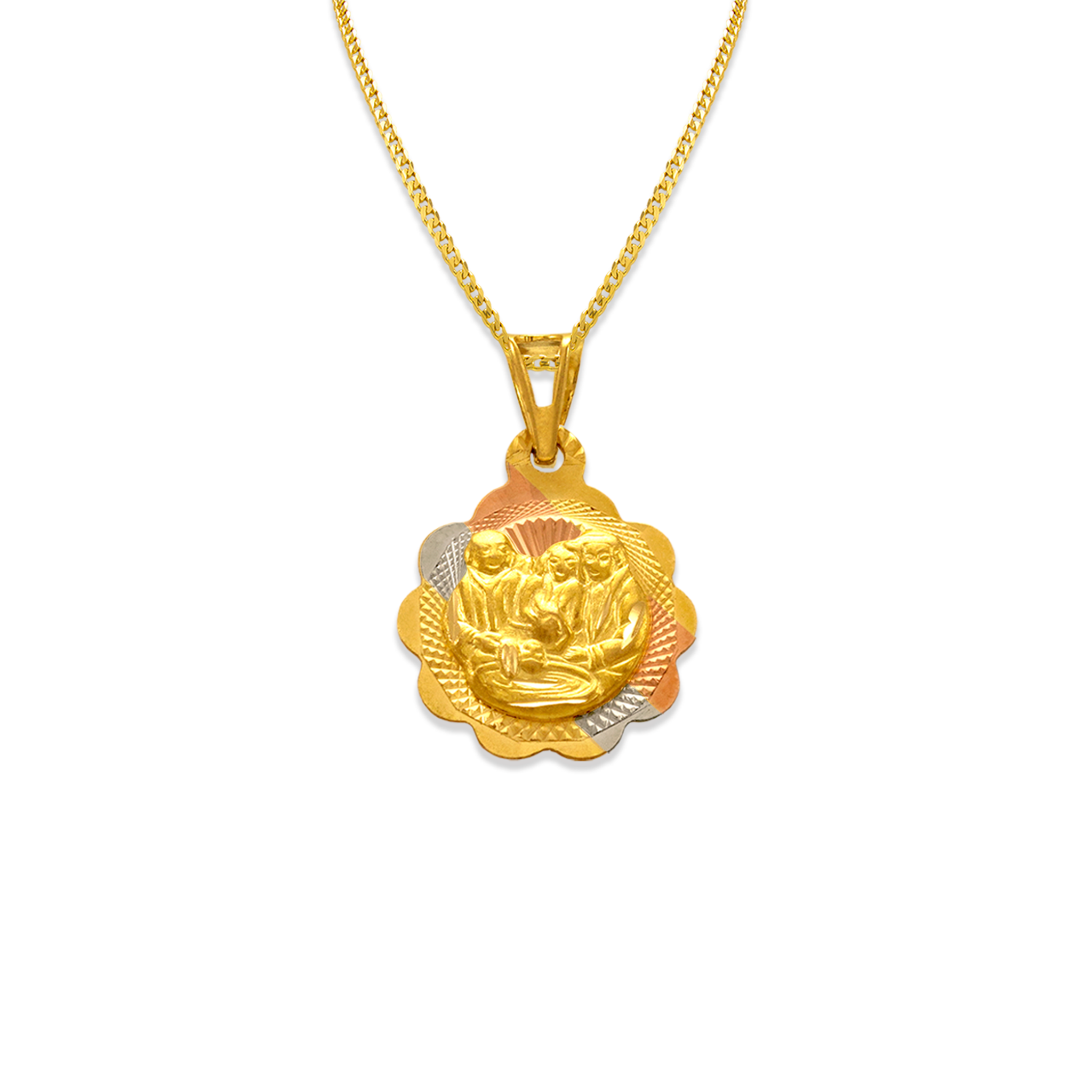 14K Gold Tri Color Gold Charm Round Baptism Scapular Pendant for Necklace