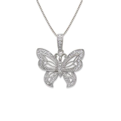 663-019W Butterfly CZ Pendant