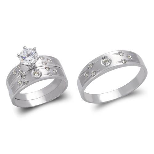 473-601WS White Wedding Trio Ring Set