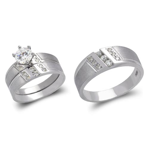 473-604WS White Wedding Trio Ring Set