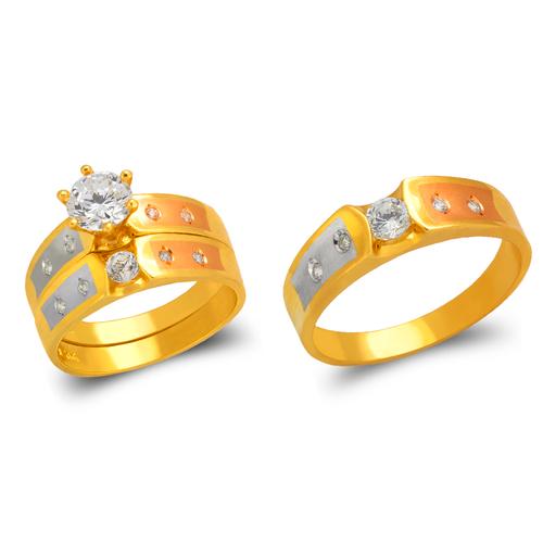 473-607TS Tricolor Wedding Trio Ring Set