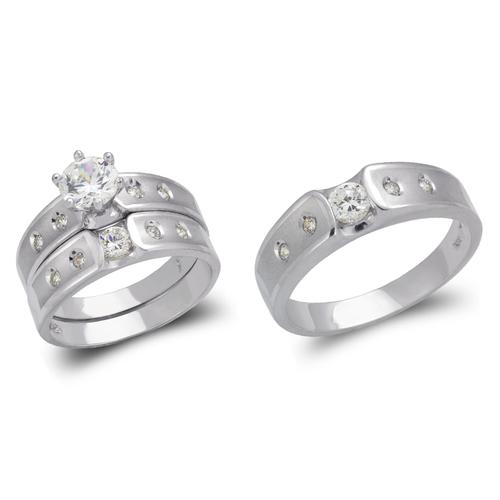 473-607WS White Wedding Trio Ring Set