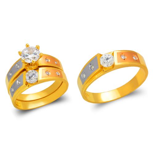 473-610TS Tricolor Wedding Trio Ring Set