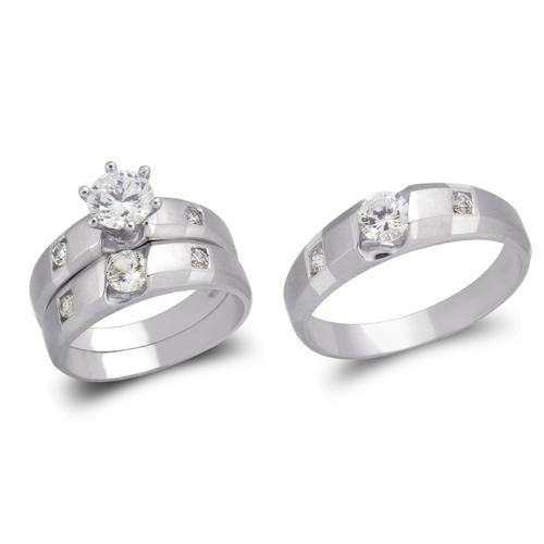 473-613WS White Wedding Trio Ring Set
