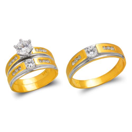 473-616ZS Two Tone Wedding Trio Ring Set