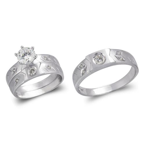 473-631WS White Wedding Trio Ring Set