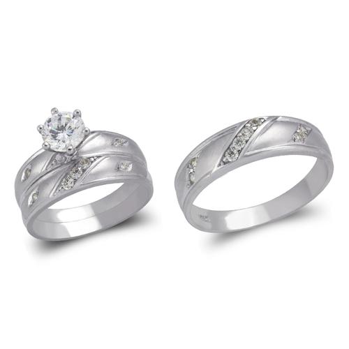 473-634WS White Wedding Trio Ring Set