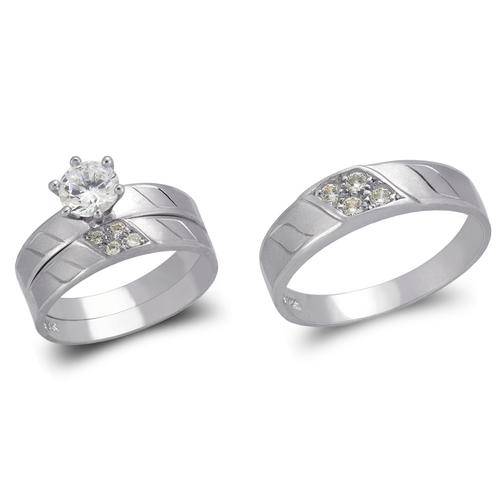 473-637WS White Wedding Trio Ring Set