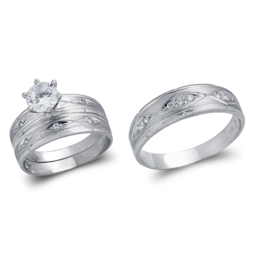 473-640WS White Wedding Trio Ring Set