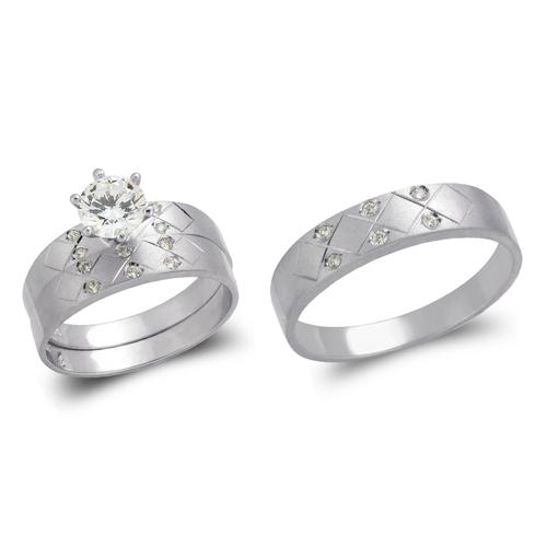 473-643WS White Wedding Trio Ring Set