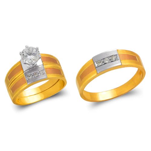 473-646TS Tricolor Wedding Trio Ring Set