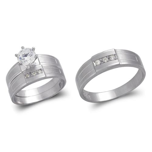 473-646WS White Wedding Trio Ring Set