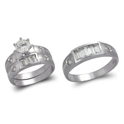 473-649WS  White Wedding Trio Ring Set