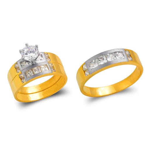 473-652ZS Two Tone Wedding Trio Ring Set