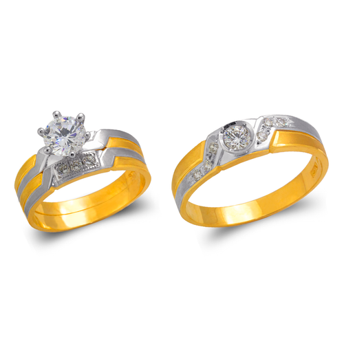 473-664ZS Two Tone Wedding Trio Ring Set