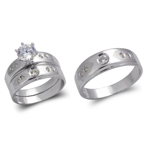 473-673WS White Wedding Trio Ring Set
