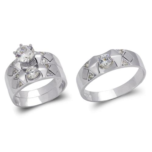 473-676WS White Wedding Trio Ring Set