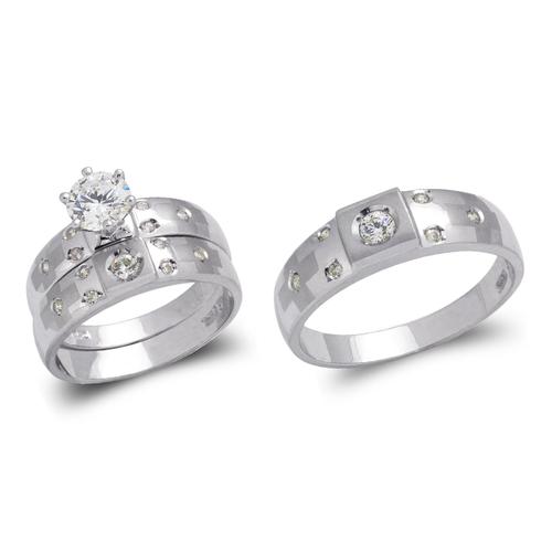 473-679WS White Wedding Trio Ring Set