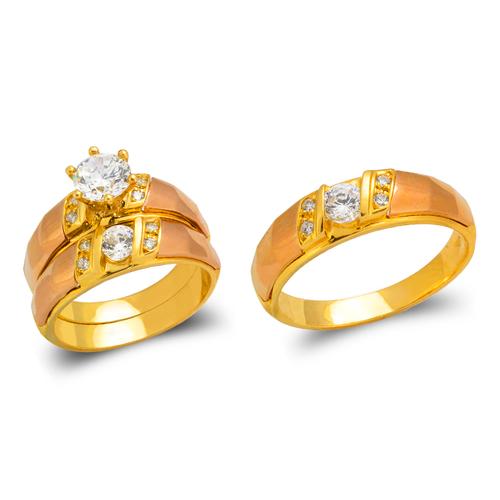 473-682TS Tricolor Wedding Trio Ring Set
