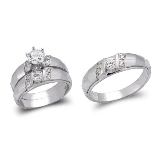 473-682WS White Wedding Trio Ring Set
