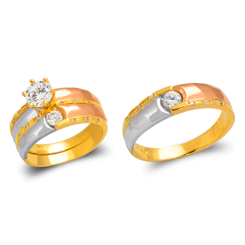 473-685TS Tricolor Wedding Trio Ring Set
