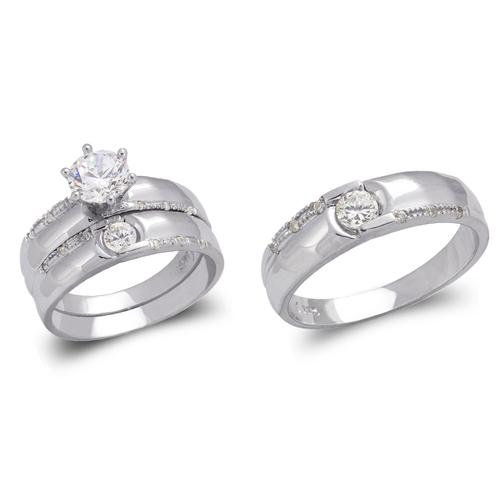 473-685WS White Wedding Trio Ring Set