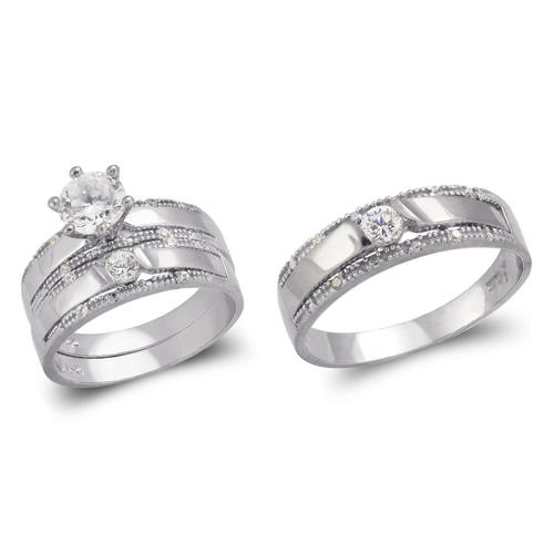 473-688WS White Wedding Trio Ring Set