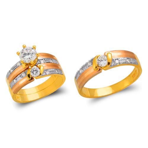 473-691TS Tricolor Wedding Trio Ring Set