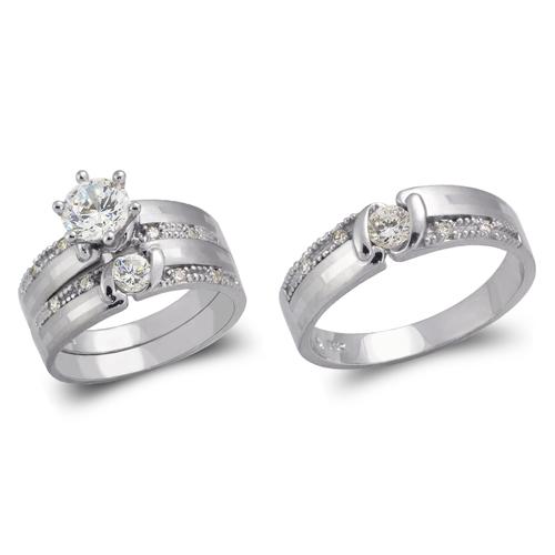 473-691WS White Wedding Trio Ring Set