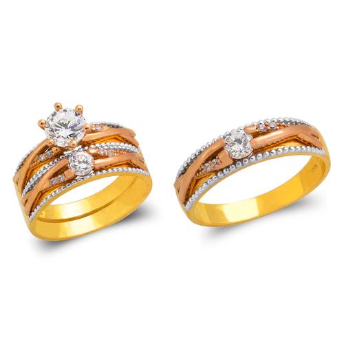 473-694TS Tricolor Wedding Trio Ring Set
