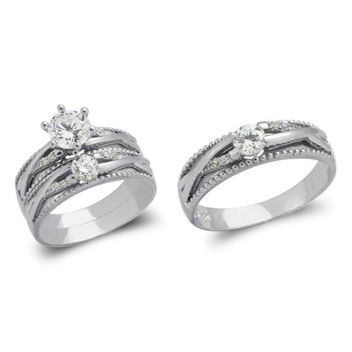 473-694WS White Wedding Trio Ring Set