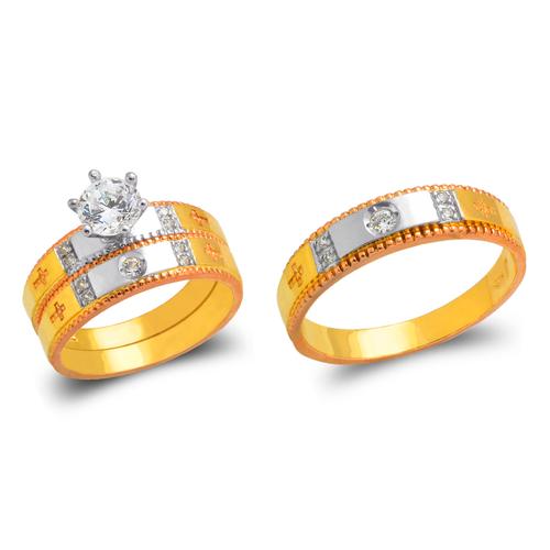 473-697TS Tricolor Wedding Trio Ring Set