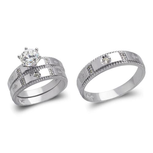473-697WS White Wedding Trio Ring Set