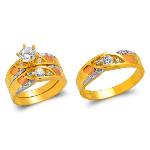 473-801TS Tricolor Wedding Trio Ring Set