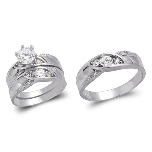 473-801WS White Wedding Trio Ring Set