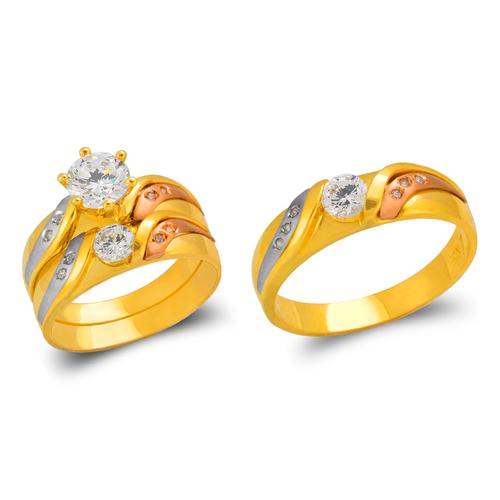 473-804TS Tricolor Wedding Trio Ring Set