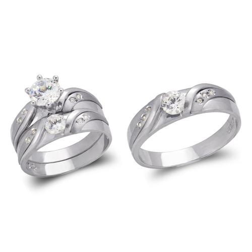 473-804WS White Wedding Trio Ring Set