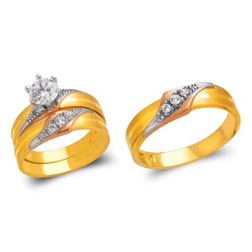 473-807TS Tricolor Wedding Trio Ring Set