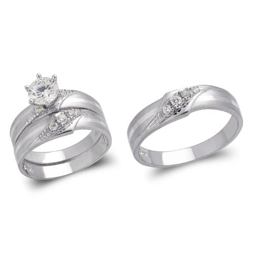 473-807WS White Wedding Trio Ring Set